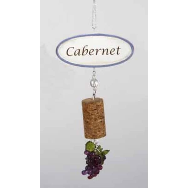"""5.5"""" Tuscan Winery Cabernet Sign with Cork and Grapes Dangle Christmas Ornament - brown"""