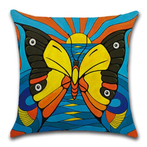 "Monarch butterfly facing the sun in stunning print decorative pillow cover for couch or sofa 18"" x 18"""