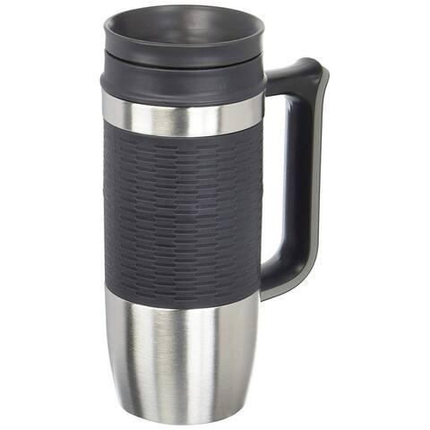 Trudeau Maison Boardroom Travel Mug, 16 Ounces, Stainless Steel-Black