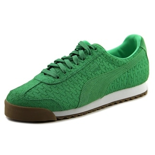 Puma Roma Mono Emboss Women  Round Toe Leather Green Sneakers