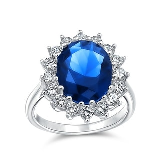Link to 4CT Blue Oval Imitation Sapphire CZ Engagement Ring Sterling Silver Similar Items in Rings