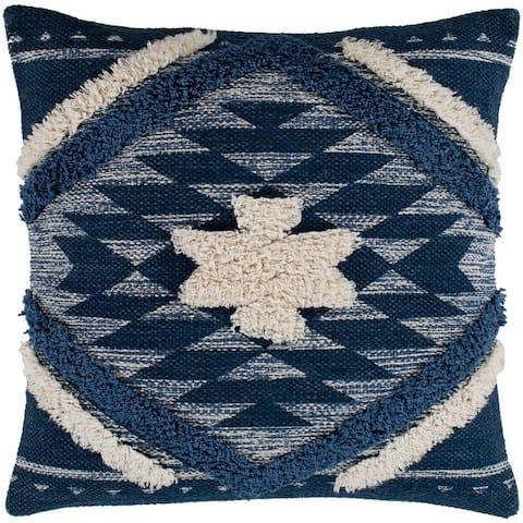 "Katherine Denim & Cream Boho Shag Throw Pillow Cover (20"" x 20"")"