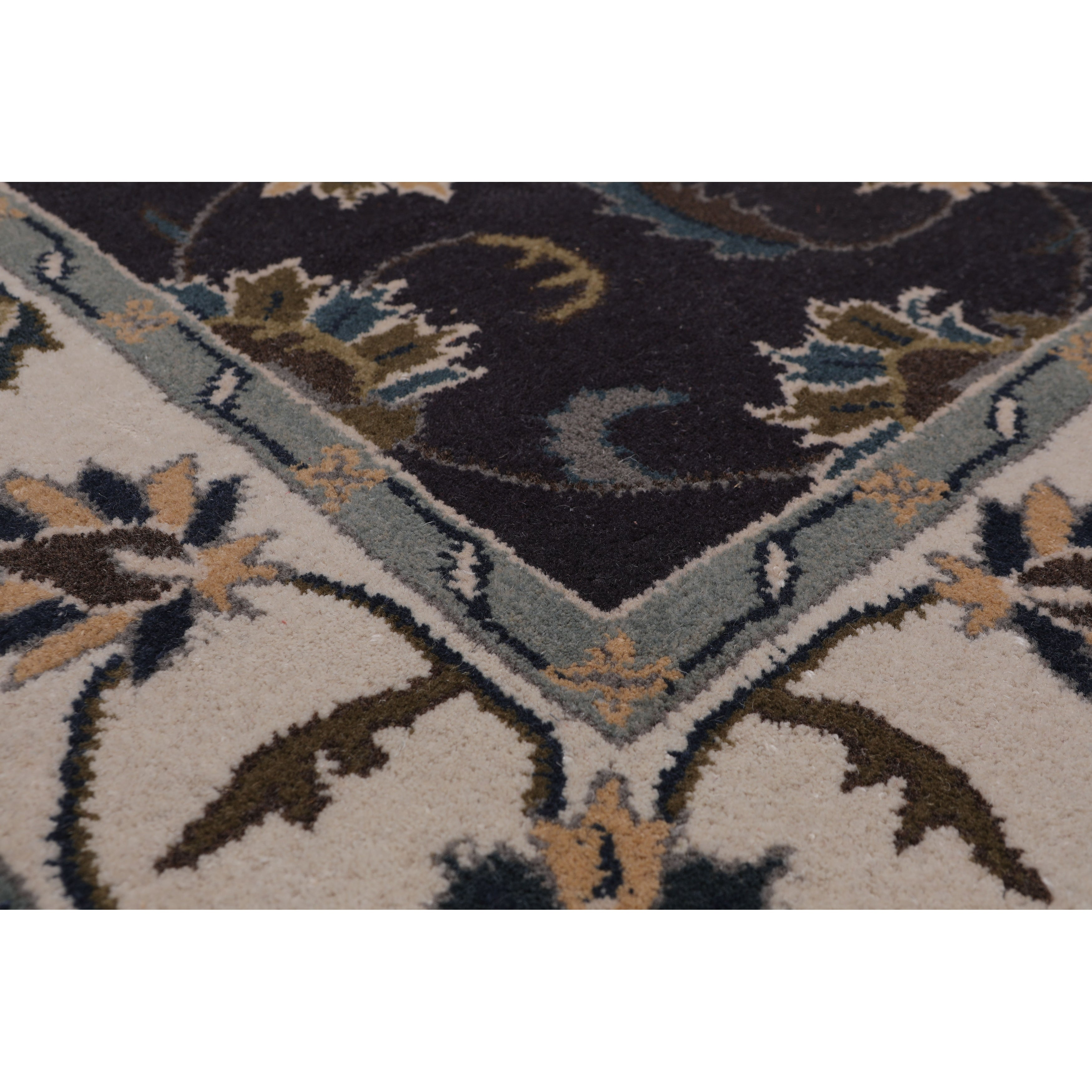 5 X8 Hand Tufted Wool Floral Kashan Oriental Area Rug Charcoal Beige Color 5 X 8 On Sale Overstock 31310731