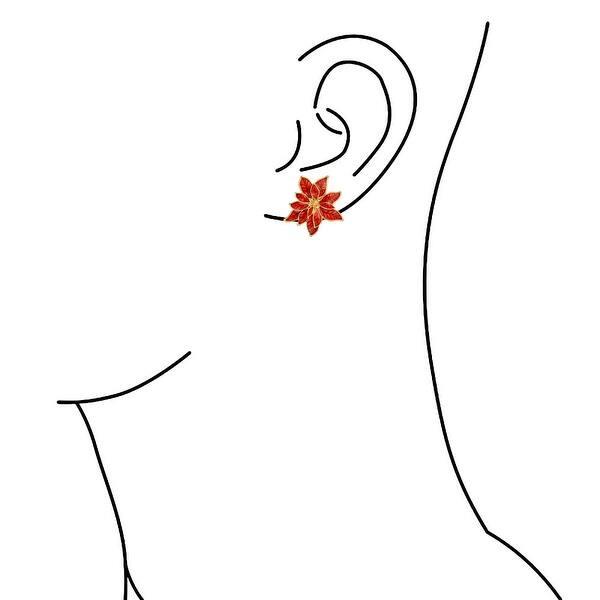 Yellow Enamel Rose Flower Earrings Pierced Glod Plated  Clusters