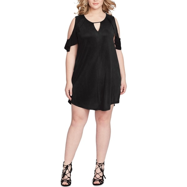 Jessica Simpson Womens Plus Pearlie Tunic Dress Cold Shoulder Cut Out