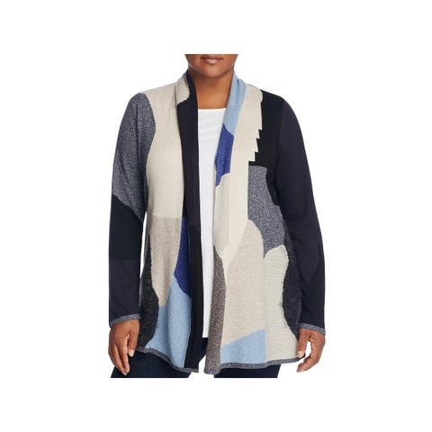 Nic + Zoe Womens Plus Cardigan Sweater Open Front Colorblock