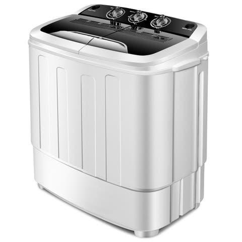 Gymax Compact Mini Twin Tub 8lbs Washing Machine Washer Spinner