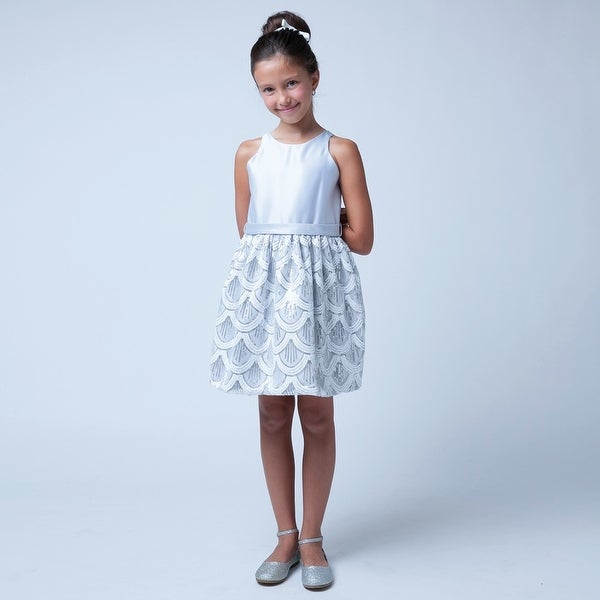 b977e0c094 Sweet Kids Girls Silver Sequin Mesh Special Occasion Easter Dress 7-16 - 7