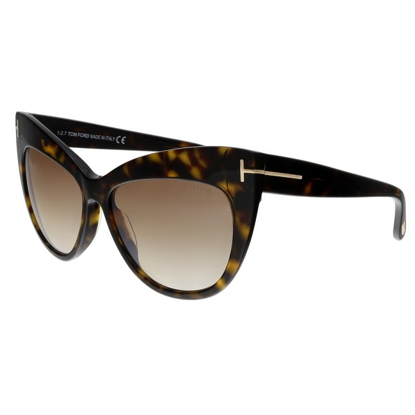9b28bb56c96c Shop Tom Ford FT0523 52G Nika Dark Havana Cat Eye Sunglasses - No ...
