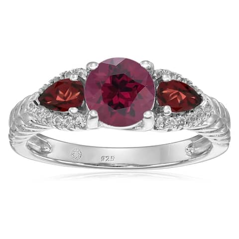 925 Sterling Silver Red Garnet,Rhodolite Garnet,White Topaz Ring