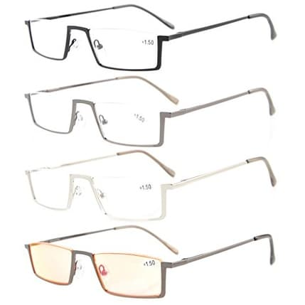 Eyekepper 4-Pack Quality Spring Hinges Half-Rim Reading Glasses+1.75