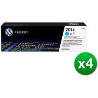 HP 201X High Yield Cyan Original LaserJet Toner Cartridge (CF401X)(4-Pack)