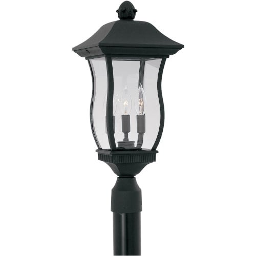 """Designers Fountain 2726-BK 3 Light 9"""" Cast Aluminum Post Wall Lantern from the Chelsea Collection"""