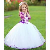 Girls White Purple Organza Lace Beaded Salma Flower Girl Dress