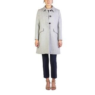 Miu Miu Women's Virgin Wool Three-Button Trench Coat Grey - 46