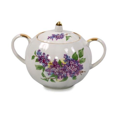 Dulevo Lilac Gold Rim Fine China Sugar Bowl