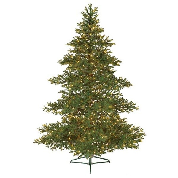 7.5' Pre-Lit Layered Balsam Artificial Christmas Tree - Clear Lights - green