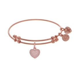 Brass Pink Heart Charm White CZ On Pink Angelica Collection Bangle