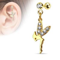 {Gold/Clear} CZ Paved Wing Fairy Dangle 316L Surgical Steel Cartilage/Tragus Barbell (Sold Ind.)