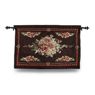 Brown Floral Josephine Tapestry Wall Hanging w/Rod 36 X 26 In. - 36 X 26 X 0.75 inches