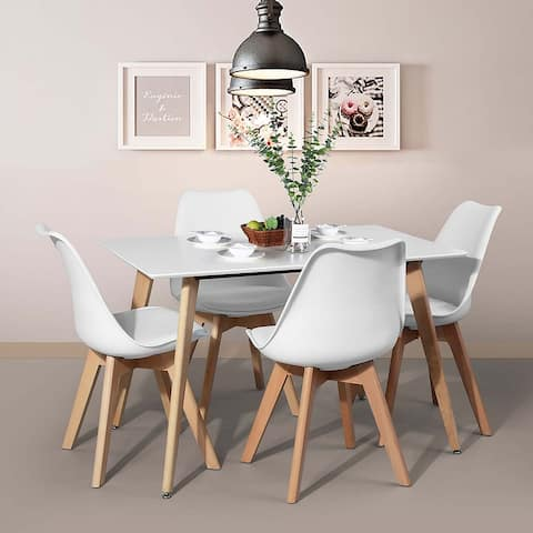 """43"""" Dining Table In Square Beech Legs - White"""