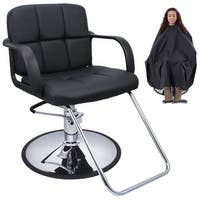Bellavie Cutting Hair Cape w/ Hydraulic Barber Chair Salon Beauty Spa Styling Black Seat