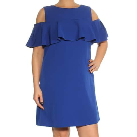 TAHARI Womens Blue Short Sleeve Above The Knee Shift Dress Size 12