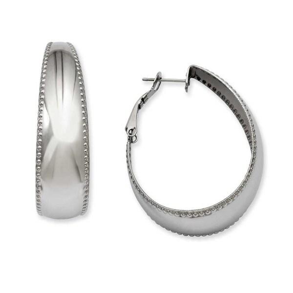 Stainless Steel Textured Edge 40mm Oval Hoop Earrings