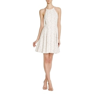 Aqua Womens Party Dress Textured Lace Floral