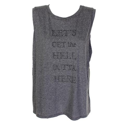 Rachel Rachel Roy Plus Size Grey Sleeveless Graphic T-Shirt 0X