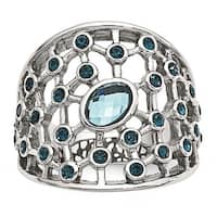 Stainless Steel Polished Blue Glass and Preciosa Crystal Ring
