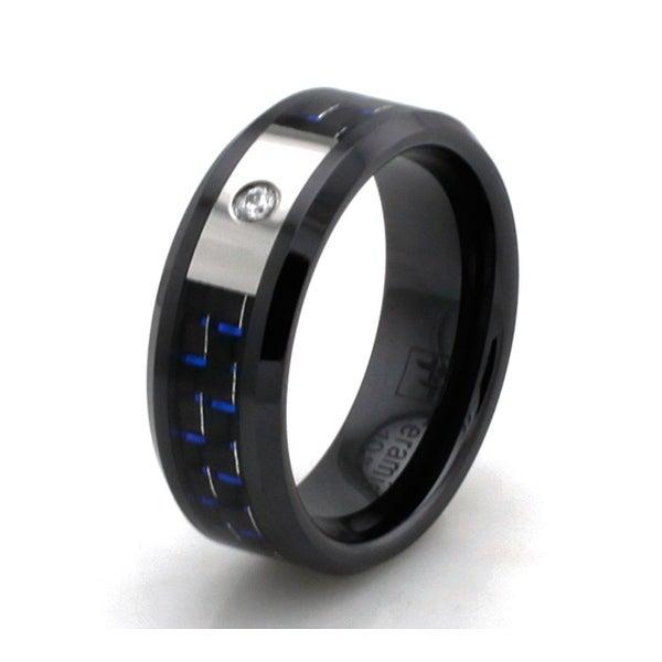 Black Ceramic Blue Carbon Fiber Ring with 0.05 ctw Cubic Zirconia