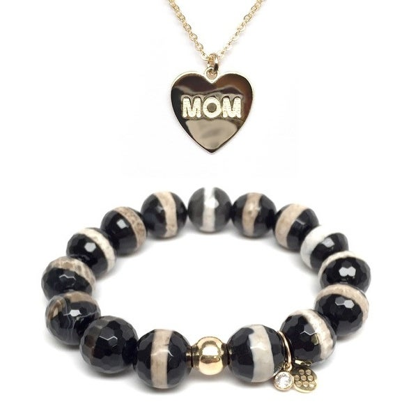 Black & White Agate Bracelet & Mom Heart Gold Charm Necklace Set