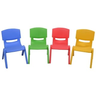 Costway Set of 4 Kids Plastic Chairs Stackable Play and Learn Furniture Colorful - as pic