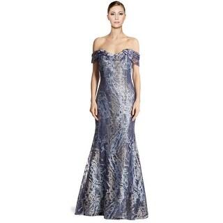 Rene Ruiz Embellished Tulle Off Shoulder Mermaid Evening Gown Dress Blue - 10