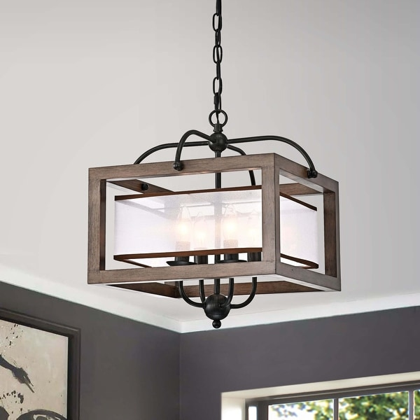 Alina Antique Black Metal Natural Wood Chandelier with Fabric Shade. Opens flyout.
