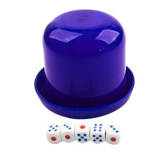 Unique Bargains Game Dice Roller Cup Blue w 5 Dices