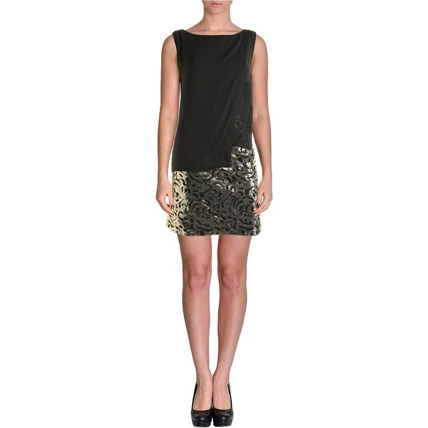 Laundry by Shelli Segal Womens Cocktail Dress Chiffon Overlay Sequined