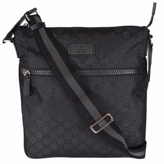 "Gucci 449184 Black Nylon GG Guccissima Web Trim Crossbody Messenger Bag - 11.5"" x 12"" x 2"""