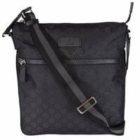 Gucci 449184 Black Nylon GG Guccissima Web Trim Crossbody Messenger Bag