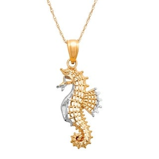 Just Gold Seahorse Pendant in 10K Two-Tone Gold
