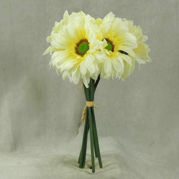 Large Green Gerbera Artificial Silk Flower Pack 6 Stems
