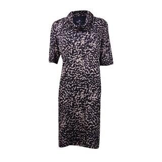 Ronni Nicole Women's Animal Print Cowl Neck Knit Shift Dress