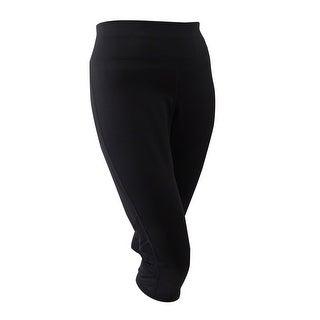 Ideology Women's Plus Size Mesh-Trim Cropped Leggings (3X, Noir) - Noir