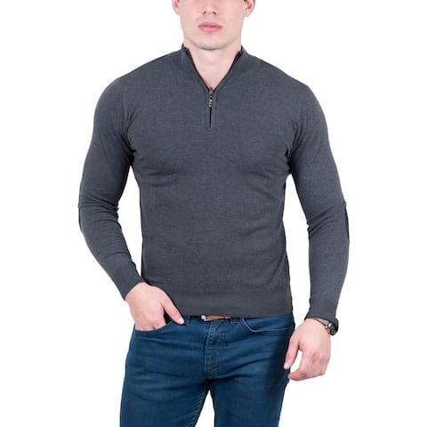 Real Cashmere Anthracite Half Zip Fine Cashmere Blend Mens Sweater