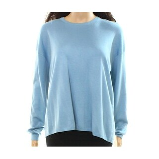 Theory NEW Blue Womens Size P Petite Vented-Back Pullover Sweater