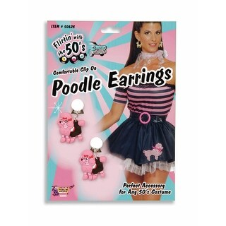 50's Pink Poodle Costume Earrings