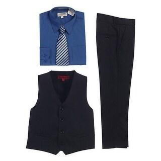 Gioberti Royal Blue Black Vest Pants Striped Tie Shirt 4 Pc Formal Set