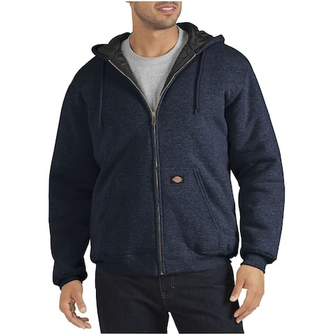Dickies Mens Sweater Blue Size Large L Hooded Quilt Lined Full-Zip