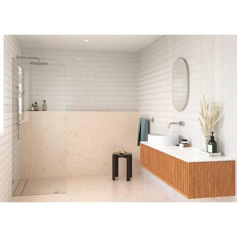 "Glass Warehouse 36"" x 78"" Frameless Shower Door - Single Fixed Panel Radius"